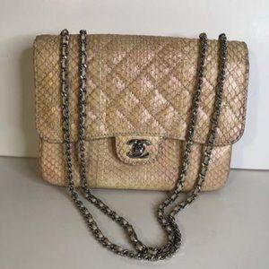 Chanel Medium Single Flap Pink Snake Leather Bag